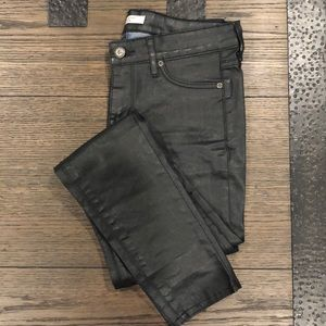 Rich & Skinny Black Wax Coated Skinny Jeans